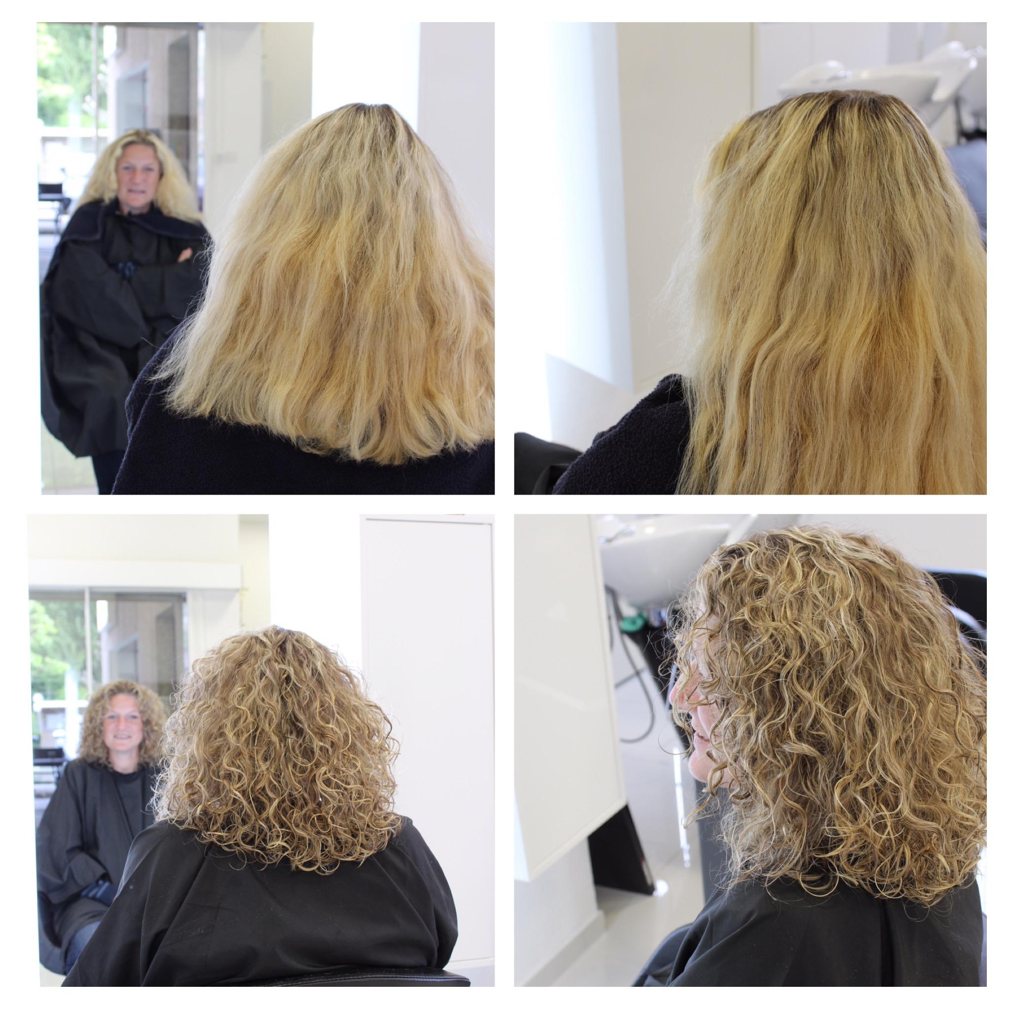 Rattrapage du blond, suivi d'une coupe en dégradée pour des belles boucles